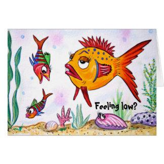 低いカードを感じているおもしろいな魚 カード
