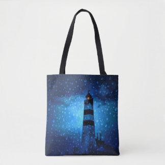 低下の濃紺夜海の灯台 トートバッグ