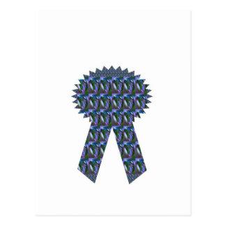 低価格青い輝きのリボンの成功の勝者の上層 ポストカード