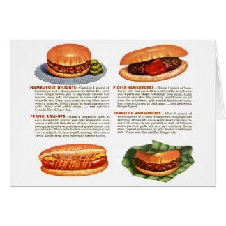 低俗なヴィンテージのハンバーガー及びホットドッグ! カード