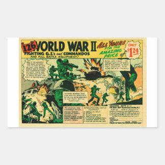 低俗なヴィンテージの喜劇的なおもちゃの広告「126人のWWIIの兵士! 「 長方形シール