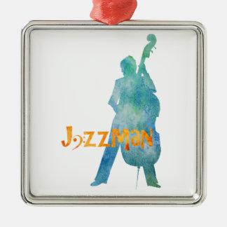 低音の遊ぶジャズ演奏家 メタルオーナメント