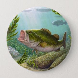 低音の魚 10.2CM 丸型バッジ