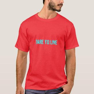 住む挑戦(赤の鮮やかな青緑色) Tシャツ