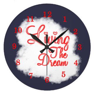 住んでいる柔らかい単語の雲夢の文字のグラフィック ラージ壁時計
