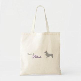 住んで下さい及び の紫色のコーギーのトートを遊んで下さい トートバッグ