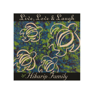住んで下さい、愛して下さい及び笑わせて下さい; 青いHonu家族木キャンバス ウッドウォールアート