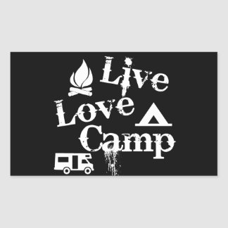 住んで下さい、愛して下さい、キャンプして下さい 長方形シール