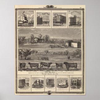 住宅、農場、Wの自由、Ackleyのビジネス ポスター