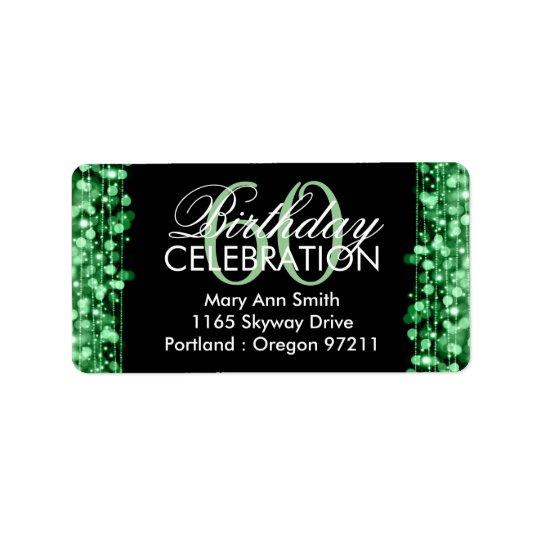 住所エレガントな第60誕生会の輝きの緑 宛名ラベル