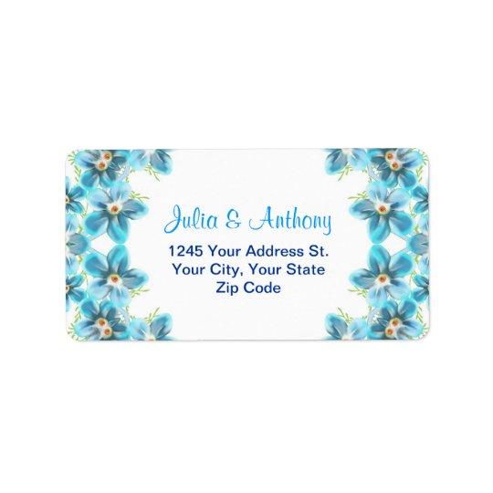 住所シールを結婚する青い花 宛名ラベル