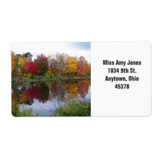 住所シール、リターン、水に秋の木 ラベル