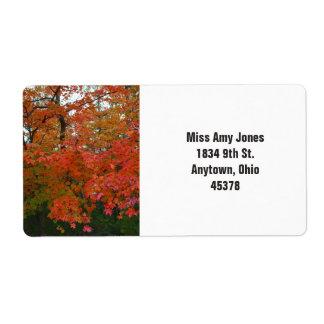 住所シール、リターン、秋の木 ラベル