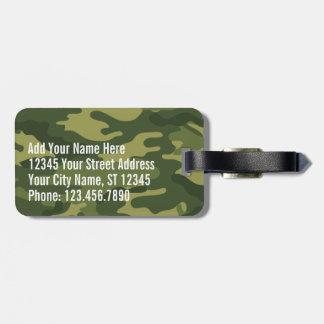 住所氏名を用いる緑の軍の迷彩柄パターン ラゲッジタグ