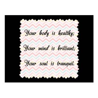 体の心の精神の断言 ポストカード
