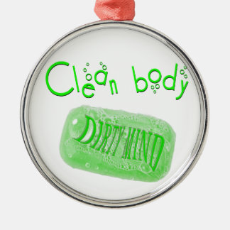 体の汚れた心の石鹸メッセージをきれいにして下さい! メタルオーナメント