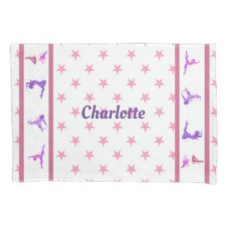 体操はピンクの女の子のモノグラムの名前を主演します 枕カバー