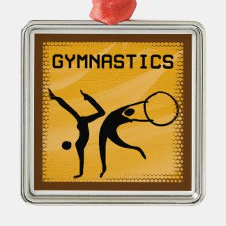 体操1匹のオーナメント シルバーカラー正方形オーナメント