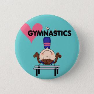 体操-ブルネットの女の子の逆立ち 缶バッジ