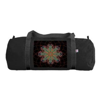 体育館のバッグの万華鏡のように千変万化するパターンの曼荼羅の芸術のブラウンのオレンジ ジムバッグ