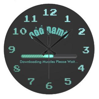 体育館のボディービルダーのローディングは名前入り押し進ませます ラージ壁時計