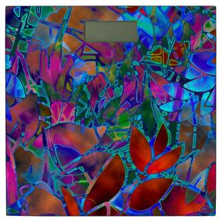 体重計の花柄の抽象芸術のステンドグラス 体重計
