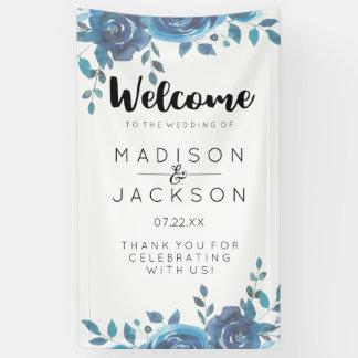 何か青い水彩画の花の結婚式の歓迎 横断幕