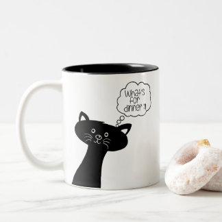 何がまたは夕食ありますか。 かわいい黒猫のマグ ツートーンマグカップ