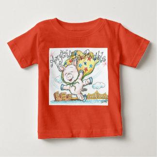 何でもコブタのベビーの罰金のジャージーの可能なティーです ベビーTシャツ