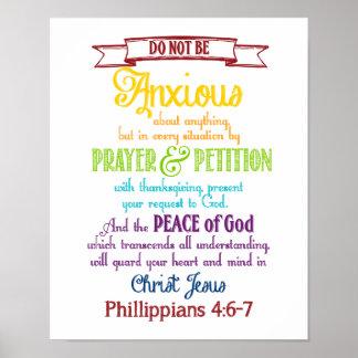 何ものために心配して下さいPhilippiansの4:6 - 7あって下さい ポスター