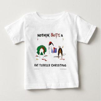 何もラットテリアのクリスマスを接合しません ベビーTシャツ