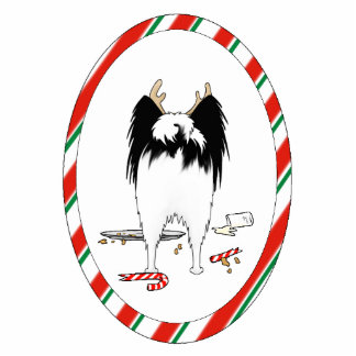 何もPapillonのクリスマスのオーナメントを接合しません 写真彫刻オーナメント