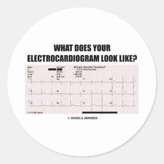 何||あなたの|心電図|見て下さい|のようにか。 丸形シール・ステッカー