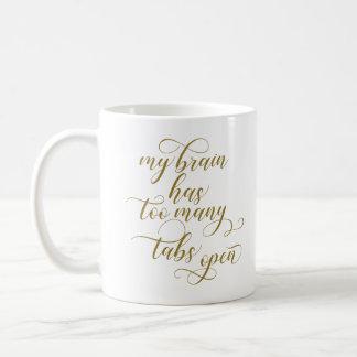 余りにも多くのタブはコーヒー・マグ-金ゴールドの書道--を開けます コーヒーマグカップ