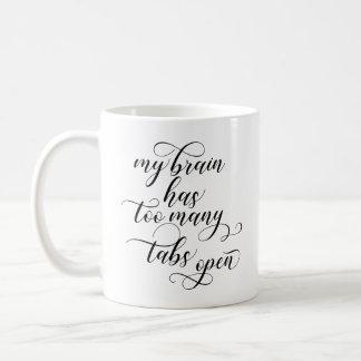 余りにも多くのタブはコーヒー・マグ-黒--を開けます コーヒーマグカップ
