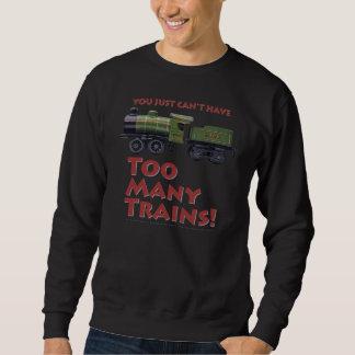余りにも多くの列車! 赤いレタリングを使って スウェットシャツ