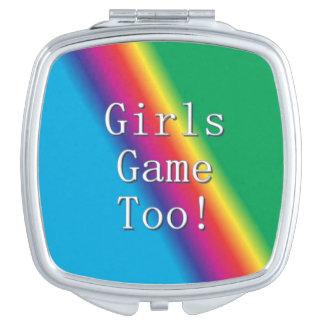 余りに女の子のゲームの虹の鏡のコンパクト