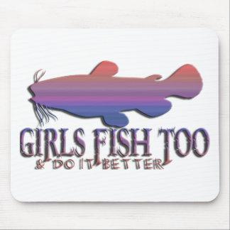 余りに女の子の魚のナマズ マウスパッド