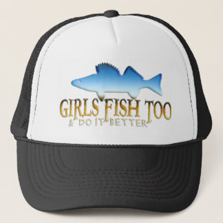 余りに女の子の魚のWALLEYE キャップ