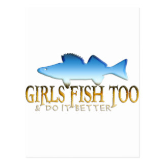 余りに女の子の魚のWALLEYE ポストカード