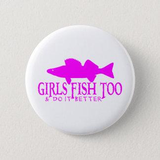 余りに女の子の魚のWALLEYE 5.7CM 丸型バッジ