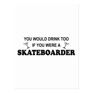 余りに飲み物の-スケートボーダー ポストカード