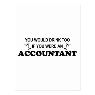 余りに飲み物の-会計士 ポストカード