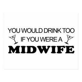 余りに飲み物の-助産婦 ポストカード