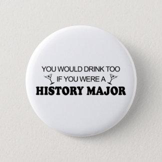 余りに飲み物の-歴史の専攻学生 缶バッジ