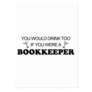 余りに飲み物の-簿記係 ポストカード
