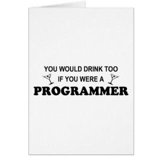余りに飲み物-プログラマー グリーティングカード