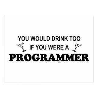 余りに飲み物-プログラマー 葉書き