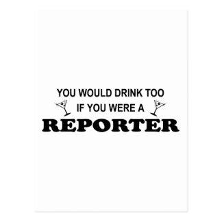 余りに飲み物-レポーター ポストカード