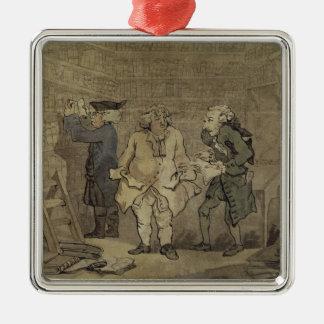 作家および彼の出版業者1784年(灰色の洗浄 メタルオーナメント
